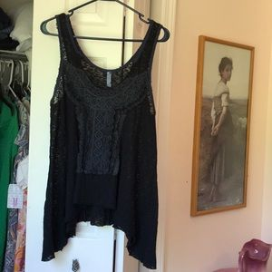 Free People Tops - Free People Stretchy Lace Jet Black Hi-low Tunic M